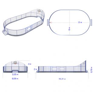 Модульний Спортмайданчик ТРЄША™ 8х15м (Компакт)