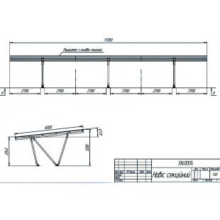 Модульний навіс ТРЕША™ для 6 авто 17,28х6м (монтаж на противаги)