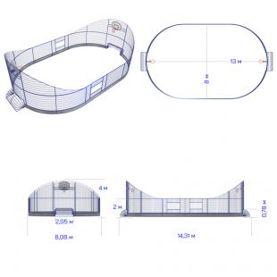 Модульний Спортмайданчик ТРЄША™ 8х13м (Компакт2)
