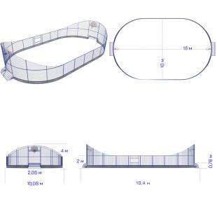 Модульний Спортмайданчик ТРЄША™ 10х18м з трибунами Комп 2